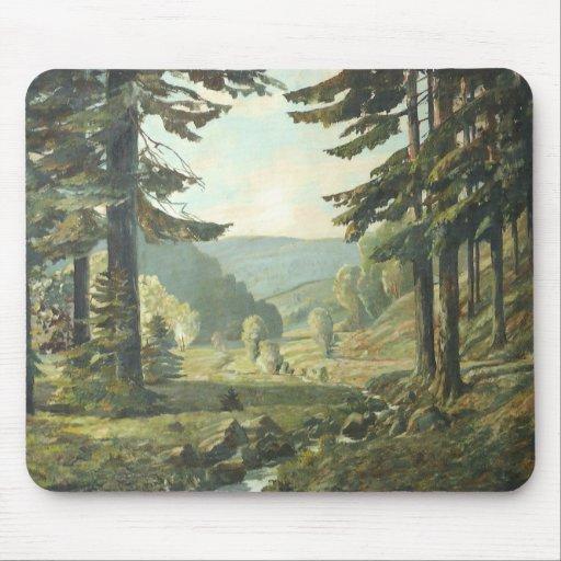 Old German Oil Painting – Forest Erzgebirge 1905 Alfombrilla De Raton