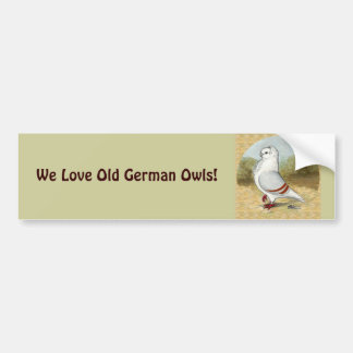 Old German Owl In the Round Bumper Stickers