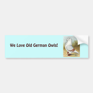 Old German Owl Standing Tall Bumper Stickers