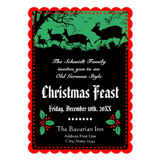 Old German Style Christmas Party or Banquet 5x7 Paper Invitation Card
