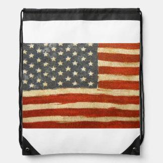 Old Glory American Flag Drawstring Backpack