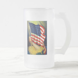 Old Glory American Flag Frosted Beer Mug