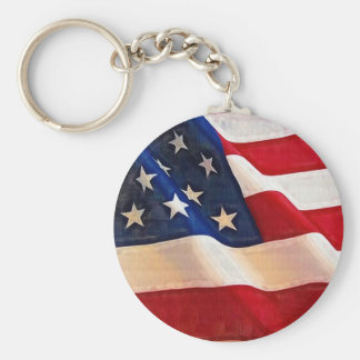 Old Glory American Flag Ripples Key Chains