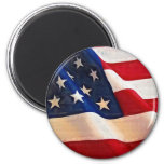 Old Glory American Flag Ripples 2 Inch Round Magnet