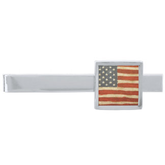 Old Glory American Flag Silver Finish Tie Clip