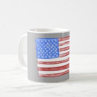 Old Glory American Flag Watercolor Coffee Mug