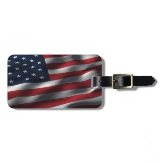 Old Glory American Flag Waves Tags For Luggage
