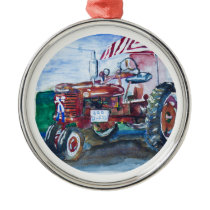 Old Glory and a Red Tractor Metal Ornament