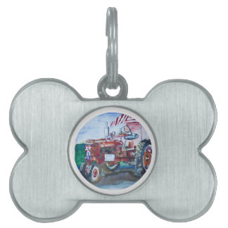 Old Glory and a Red Tractor Pet ID Tag