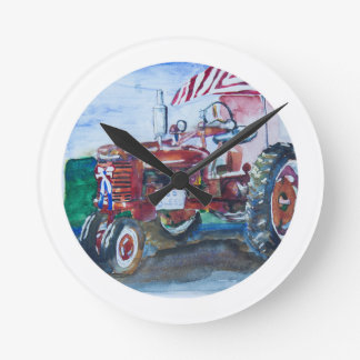 Old Glory and a Red Tractor Round Clock