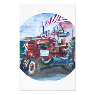 Old Glory and a Red Tractor Stationery