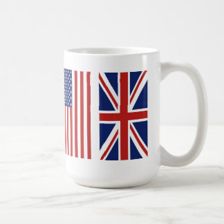 Old Glory and Union Jack Flags. Classic White Coffee Mug