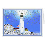 Old Glory Flying Bright at Portland Head Light Greeting Cards
