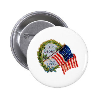 Old Glory Forever Vintage Flag Button
