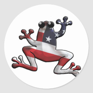 Old Glory Frogs Classic Round Sticker