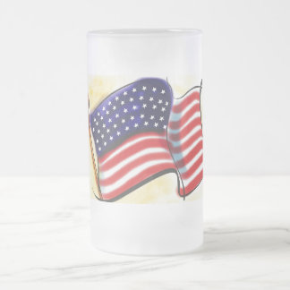 Old Glory Frosted Glass Mug