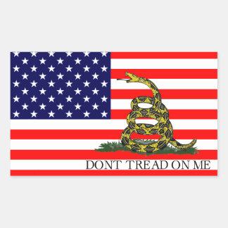 Old Glory / Gadsden Flag Combo Rectangular Sticker