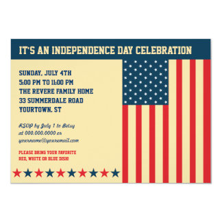 Old Glory Independence Day Horizontal Invitation
