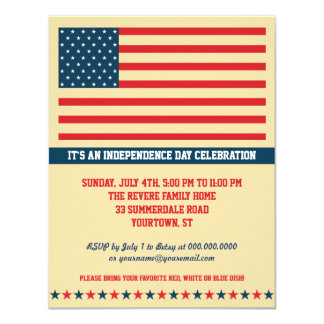 Old Glory Independence Day Party Vertical 4.25x5.5 Paper Invitation Card