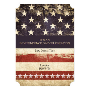 Old Glory July 4th Party Invitation at Zazzle