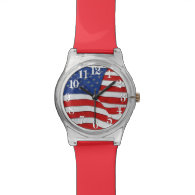 Old Glory Patriotic US Flag, United States Wristwatches
