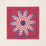 "Old Glory Red White Blue Square Chiffon Scarf<br><div class=""desc"">Old Glory Red White Blue Square Chiffon Scarf with Red Background. Fun pinwheel design to celebrate your patriotic occasion with 50 stars on the design to represent the 50 states of the United States of America, and 13 stripes on each loop to represent the thirteen original British colonies. Design by...</div>"