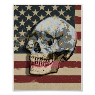 Old Glory Smiling Skull  Modern Wall Art Poster