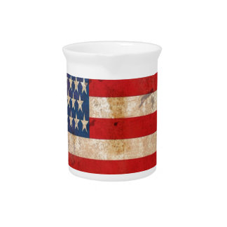 Old glory Stars Stripes distressed american flag Beverage Pitcher