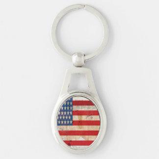 Old glory Stars Stripes distressed american flag Keychain