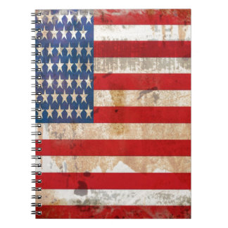 Old glory Stars Stripes distressed american flag Notebook