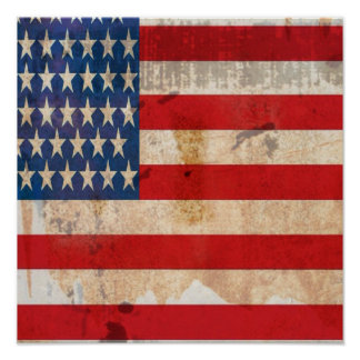 Old glory Stars Stripes distressed american flag Poster