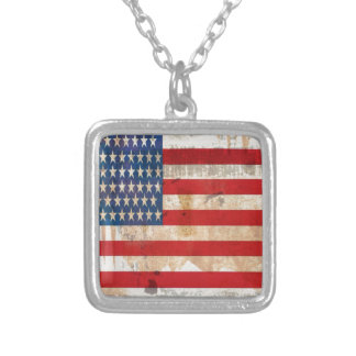 Old glory Stars Stripes distressed american flag Silver Plated Necklace