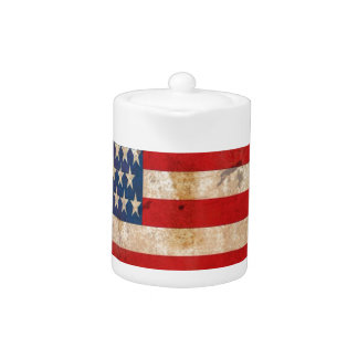 Old glory Stars Stripes distressed american flag Teapot
