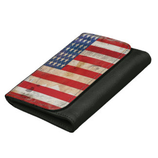 Old glory Stars Stripes distressed american flag Wallet For Women