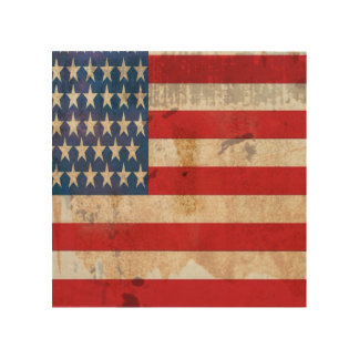 Old glory Stars Stripes distressed american flag Wood Wall Art