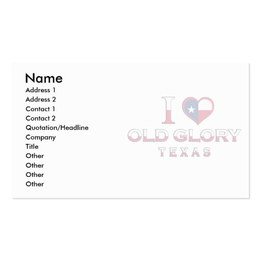 Old Glory, Texas Double-Sided Standard Business Cards (Pack Of 100)