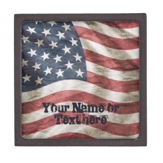 Old Glory US Flag Red, White and Blue Keepsake Box
