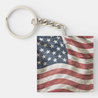 Old Glory US Flag Red, White and Blue Single-Sided Square Acrylic Keychain