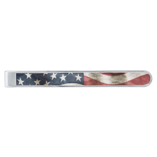 Old Glory US Flag Red, White and Blue Silver Finish Tie Clip