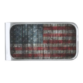 Old Glory wooden fence money clip