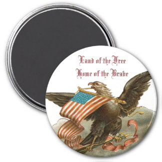 Old Glory's Eagle 3 Inch Round Magnet