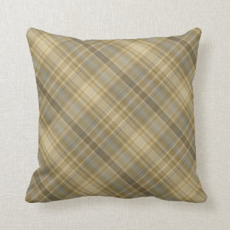 Old gold and silver grey stripes throw pillow