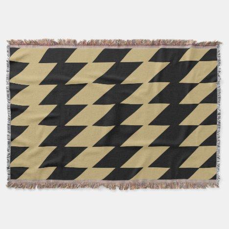 Old Gold & Black Jagged Pattern Throw Throw Blanket