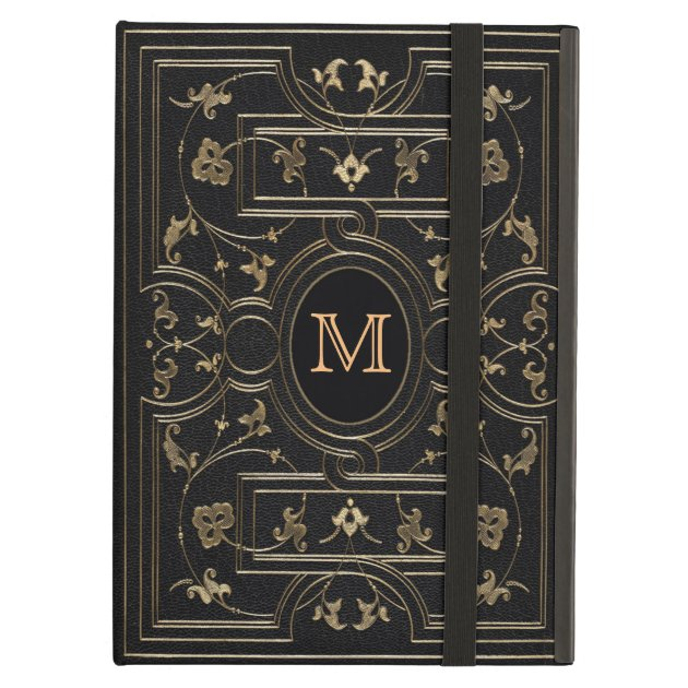 Black And Gold Book Cover : Old gold monogram ipad air covers