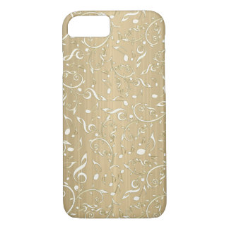 Old Gold With Ivory Music Notes and Clefs iPhone 8/7 Case