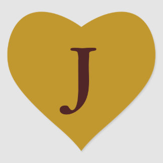 old gold with letter J Heart Sticker