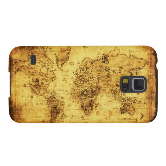 Old Gold World Map Phone Case Galaxy S5 Covers