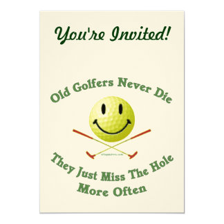 Old Golfers Miss The Hole 5x7 Paper Invitation Card