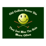 Old Golfers Miss The Hole Postcard