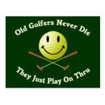 Old Golfers Never Die Play Thru Postcard